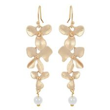 NiX 1293 Gold Orchid Flower Danglers Pearl Drop Earring Gift Women Girl Earrings