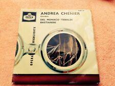 """1959 DECCA CEP 611 1A/1A Andrea Chenier - Del Monaco /Tebaldi Bastiani 7"""" single"""