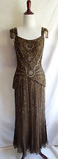 Scala S Brown 100% Silk Beaded Sequin Evening Formal Party Gown Statement Dress