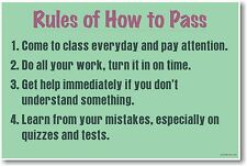 Rules - How To Pass - NEW Classroom Motivational Poster