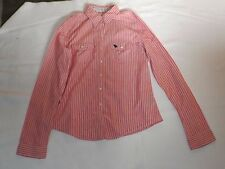 LADIES VINTAGE LARGE ABERCROMBIE & FITCH DARK PINK WHITE STRIPED SHIRT CHEST 38""