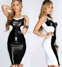 Size M Black and white,Clubwear PVC wet look Mini dress one size fits 8/10/12