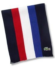 NWT Lacoste Croc Logo Stripe Knit Wool Scarf Red Blue White Navy NEW
