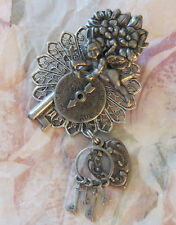 Vintage Style True & False Spinner Brooch Cherub Heart & Jail Keys Antiqued OMS