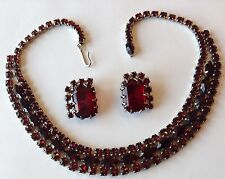 VINTAGE JULIANA  RED RHINESTONE NECKLACE AND EARRINGS