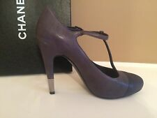 CHANEL Gray Leather CapToe Mary Jane T-Strap Metal Heel Pumps Shoes Sz39.5 $1095