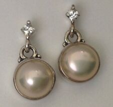 Vintage Sterling Post Earrings with 6 mm Pearl & Accent CZs Konder #786