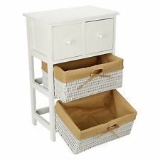 Retro White Tall Shabby Chic W/ Wicker Storage Wood Bedside Table Unit