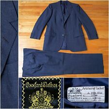 Vintage $4995 Oxxford Clothes Suit in Navy Blue w/ Pinstripes, 38R, 33W 28L Flat