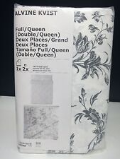 Ikea Alvine Kvist Full/Queen Duvet Cover and Pillowcases White Gray Bedding