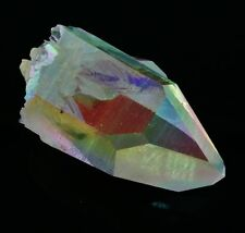 OPAL ANGEL AURA QUARTZ Double Crystal Rainbow Colors w/Healing Property Card
