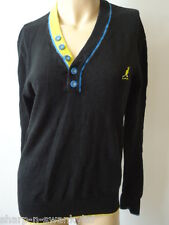 ☆ KANGOL BLACK LABEL Mens Black V Neck Cotton Jumper Sweater Top Size Small ☆