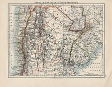1897 VICTORIAN MAP ~ SOUTH AMERICA ~ URUGUAY PARAGUAY & NORTH ARGENTINA