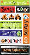 GLITTER CHIPBOARD STICKERS  - HALLOWEEN WORDS & SAYINGS - TRICK OR TREAT