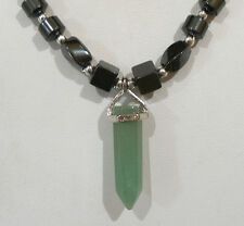 "HEMATITE BEADED AVENTURINE CRYSTAL POINT PENDANT NECKLACE MAGNETIC CLASP 18""LONG"