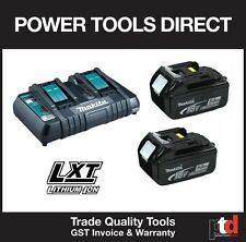 NEW MAKITA 18V CORDLESS DC18RD DUAL BATTERY CHARGER & 2 x BL1850 5AMP BATTERIES