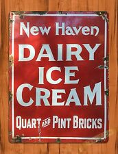 "TIN-UPS TIN SIGN ""New Haven Dairy"" Ice Cream Advertising Rustic Wall Decor"