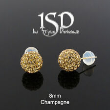 14k Gold 8mm Swarovski Elements Champagne Crystal Disco Ball Studs Earrings