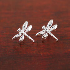 925 Sterling Silver Lovely Dragonfly 7x8mm Stud Earrings A1294