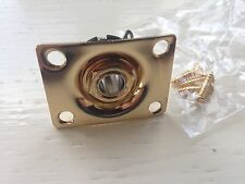 GUITAR Rectangular Gold RECESSED JACK SOCKET NEW 37x28mm with Fitment Screws