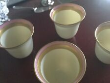 Lenox China Demitasse Gold  & Pink Insert Liner Sterling Silver Frame SET OF 4