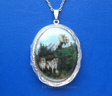 Porcelain WOLF PACK (3 Wolves) CAMEO ST Locket Pendant Necklace Valentine Gift