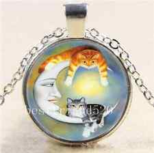Cat With Moon Photo Cabochon Glass Tibet Silver Chain Pendant  Necklace