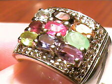 natural multi gem SILVER 925 RING WHITE gold emerald ruby 7.25 STERLING FANCY