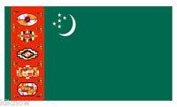 TURKMENISTAN FLAG 5FT X 3FT