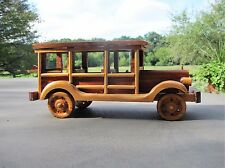 "Vintage1930's Handmade Wooden Toy ""WOODIE"" Stationwagon/Surfboard Folk Art Auto"