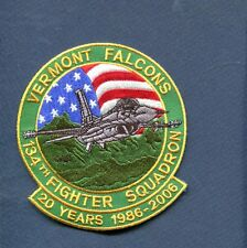 134th FS 20th ANNIVERSARY F-16 FALCON USAF ANG Fighter Squadron jacket Patch