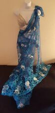 Blue & Silver Crystal Lace Sequin Bralette Lehenga Sari Saree Wedding Gown Set