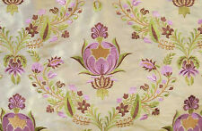 Embroidered, Shot Silk Fabric. Iridescent, Gold with Rose-Pink Flowers