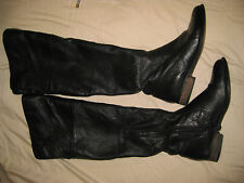 Shoemint Womens Black Leather Boots over the knee size 10M