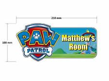 Paw Patrol Shield Personalised Childrens Bedroom Door Plaque Sign Boys Girls