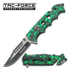 "8.25"" GREEN SKULLS SPRING ASSISTED FOLDING KNIFE Pocket Blade Assist Open Switch"