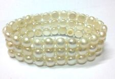 Closeout GENUINE TRIPLE STRAND WHITE CORN CULTURED FRESHWATER PEARL BRACELET