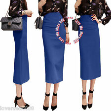 Women's High Waisted Basic Solid Long Maxi Tight Slim Fitted Bodycon Skirt Dress