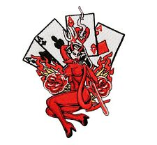 Devil Lady Poker Hand 4 Four Aces Embroidered Iron On Patch Applique