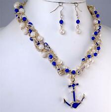 Royal Blue Anchor Pendant White Gold Pearl Chain Necklace Earrings Jewelry Set