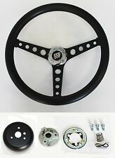 1967-1968 Buick Skylark Riviera GS Black on Black Spokes Steering Wheel 14 1/2""