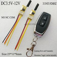 Mini Relay Contact Remote Switch NO COM NC 3.7V 4.2V 5V 6V 7.4V 9V 12V ASK RX TX