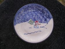Thomson Snowman Blue Sky Rim Green Trees White Red Hat Scarf Snow Salad Plate