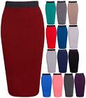 Women Pencil Stretch Tube Wiggle Fit Bodycon Plain Midi Skirt Plus Size