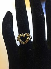 10k 10kt Real Yellow Gold Diamond Heart Ring 2.7 Grams Size 6