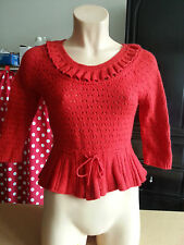 Pull rouge ajouré H&M angora (taille XS) style rockabilly, pin up, vintage rétro