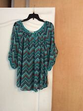 New Love On Hanger Multi Color/sheer/printed Open Sleeves Women Top Plus Size 2X