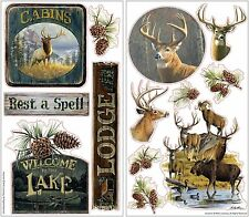 LODGE 13 Wall Decals Rustic Hunting Room Decor Stickers Deer Elk Lake Cabin Home