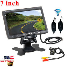 "Wireless Rear View Back up Camera Night Vision System+7"" Monitor for Car SUV USA"