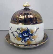 Large Flow Blue Art Nouveau Fruit Pattern Cheese Dome Keeper